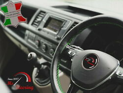 For Autocar Expert -black Steering Wheel Cover Green Stitch