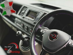 For Autocar Expert -black Steering Wheel Cover Purple Stitch