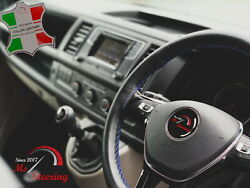 For Autocar Expert -black Steering Wheel Cover Royal Blue Stitch