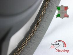 For Autocar Expert - Grey Steering Wheel Cover Beige Stitch
