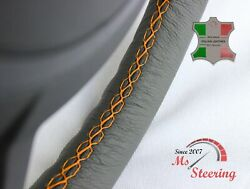 For Autocar Expert - Grey Steering Wheel Cover Orange Stitch
