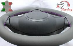 For Autocar Expert - Grey Steering Wheel Cover Purple Stitch
