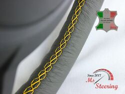 For Autocar Expert - Grey Steering Wheel Cover Yellow Stitch