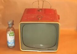 Vintage Rca Victor Red Art Deco Retro Tv As Is For Parts Repair Project