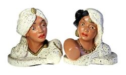 Universal Statuary Eastern Indian Couple Bust Bookend Sculpture 1954 Chicago
