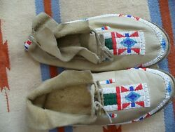 Vintage Native American Indian Beaded Leather Moccasins