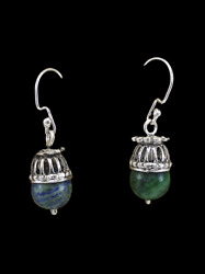 Vintage Ancient Malachite 925 Sterling Silver Earring Israel Handmade Jewelry