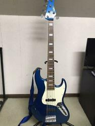 moon Jb-5 5 String Jazz Blue Electric Bass Guitar And Soft Case Japan Shipped