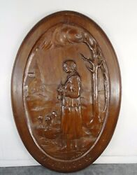 French Antique Hand Carved Walnut Wood Oval Panel Goose-keeper In Perigord