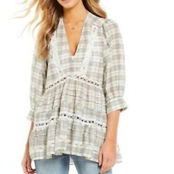 Free People Black White Time Out Lace Trim Plaid Cottagecore Prairie Tunic Top M