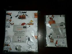 Pottery Barn Kids Peanuts Snoopy Queen Sheet Set With Extra Pillow Case Happines