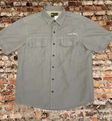 G.h. Bass And Co Men's Size L Grey Button Front Short Sleeve Shirt 11c1
