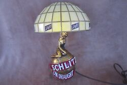 """Vintage 1971 Schlitz On Draught Beer Wall Sconce Girl Globe Lamp 12"""" Working"""