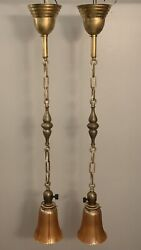 Nice Pair Antique Brass Pendant Light Fixtures With Carnival Art Shades 91e