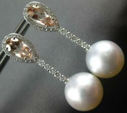 Large 2.80ct Diamond And Aaa Morganite And South Sea Pearl 18kt White Gold Earrings
