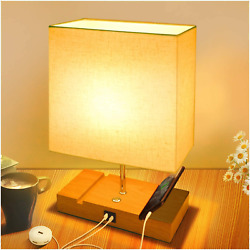 Touch Bedside Lamps For Bedrooms Linen Table Lamp With Fast Usb Charging Ports