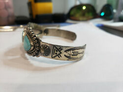 Vintage Indian Turquoise Sterling Silver Handcrafted Cuff Bracelet Arrows Mask