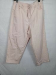 Style And Co.jeans Capri Womanand039s Size 16w Demin Jeans Pink Solid Cotton Blend