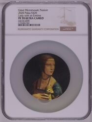Ngc Pf7 Lady With An Ermine Great Micromosaic Passion 3oz Silver Coin Palau2020