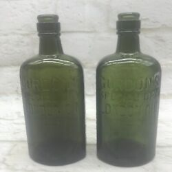 2 Antique Gordons Gin Bottles Green Glass Display Or Prop Small 19cm Tall