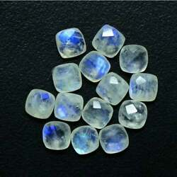 Natural White Rainbow Moonstone Cushion Checker Cut Loose Gemstone 11mm To 15mm