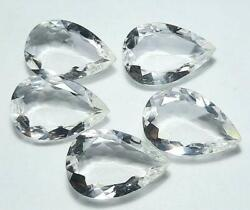 Natural White Crystal Quartz Pear Faceted Cut Loose Gemstone Size 13x18mm