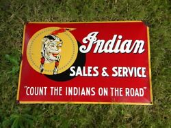 Indian Sales And Service Porcelain Sign Oil Chief Roadmaster Gas Motorcycle Dealer