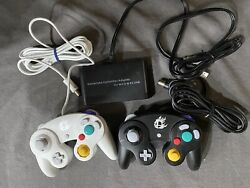 Nintendo White And Black Gamecube Controller Super Smash Bros Wii U With Adapter