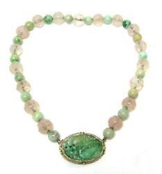 Antique Carved Jade Rose Quartz And Seed Pearls 14k Gold Pendant Necklace