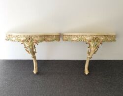 🔴rare Antique Italian Florentine Wall Side Tables Bedside French Chic Decor
