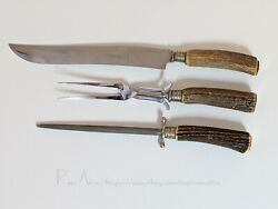 Hugo Hammesfahr And Co 3pc Cutlery Set Carving Knife, Fork And Sharpening Steel