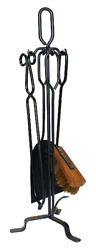 Fpt016 Black Tongio Forging 4 Piece Fire Tool Set On 72cm Stand W Tongs