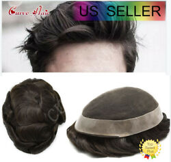 French Lace Men Toupee Human Hair Replacement System Poly Skin Men Wig Hairpiece