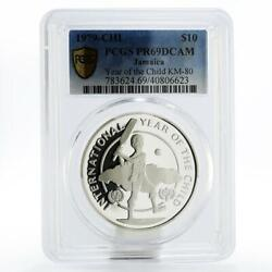 Jamaica 10 Dollars International Year Of The Child Pr69 Pcgs Silver Coin 1979