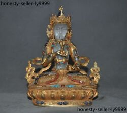 Tibet Bronze 24k Gold Gilt Crystal Inlay Turquoise Red Coral Vajrasattva Statue