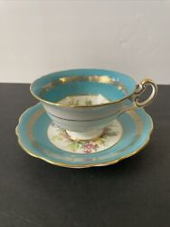 Eb Foley Blue Floral Bone China Tea Cup And Saucer Made In England