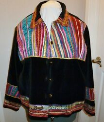 Coldwater Creek Colorful Embroidered Black Velour Lined Size 1x Short Jacket