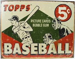 Topps 1955 Baseball Cards Metal Sign Advertising New Vintage Repro Poster Usa