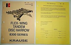 Krause 8300 Series Tandem Disc Harrow Owners Operators Parts Manual And Supplement