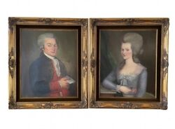 19th Cent Oil On Canvas Portrait Paintings Of The Mayor Of Brest, France And Wife