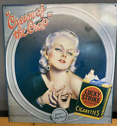Vintage Jean Harlow Cream Of The Crop Lucky Strike Cigarettes Tin Ad Sign