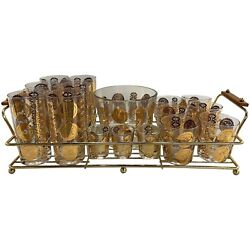 Mid Century 22kt Gold Decorated Hollywood Regency 20 Piece Glass Barware Set