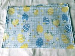 Easter Baby Chickens Eggs set of 4 Rectangle Placemats Yellow White Blue Check
