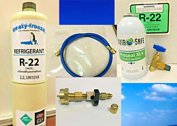 R22 Refrigerant 22 Ac And R Pro Recharge Kit, 15oz. Can And Leak Stop Hose Tapers