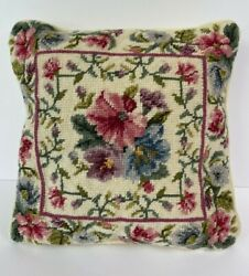 Floral needlepoint pillow zippered cover approx. 14quot; x 14quot;