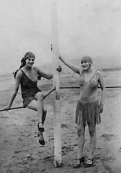 Old Photo Bathing Suits 1926 Two Women Modelling Bathing Suits On The Beach At