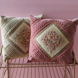 Vintage Velvet Embroidered Tapestry Pillows Belgian Roses Victorian Antique Pink