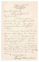 Benjamin Harrison - Letter Signed - Reflects On And Idolizes Abraham Lincoln