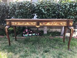 Vintage Markel Bedroom Console Table With Scenery Designed Queen Ann 58 Tall
