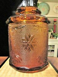 Antique Amber Glass Tobacco Canister Covered Jar